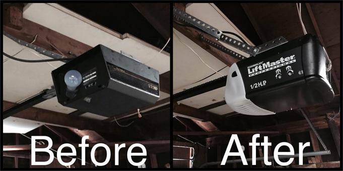 Liftmaster garage door repair job in San Diego